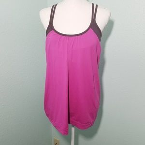 Athleta Hot Pink Cross Strap Built in Bra Tank